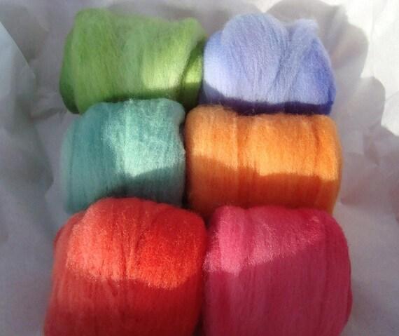 Wool Sampler - Colorful Merino Felting Wool