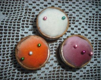 3 Handmade Velvet Egg Cup pincushions