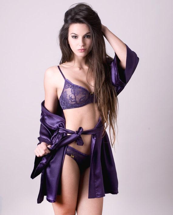 Kimono/ robe  in violet Satin MADE TO ORDER