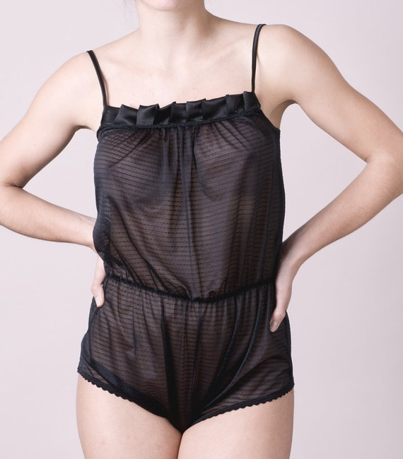 Free Shipping // Black Tulle Romper Suit // Lila Lingerie Collection