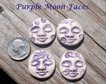 On Sale** Free Shipping --4 Pottery Art -- Purple EMBOSSED MOON FACES -- Mosaic Tiles - Pendant