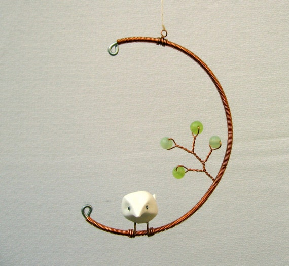 Bird in the Moon Hanging Mobile