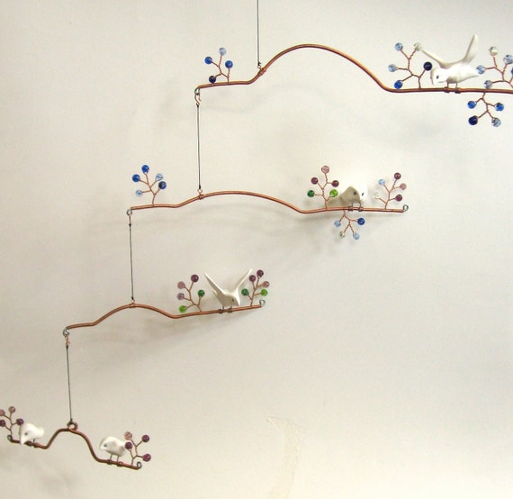 Custom Birds and Beads Hanging Mobile-- Extra-Large, Four-Tiered Hanging Sculpture, Kinetic Scuplture, Birds on Branches