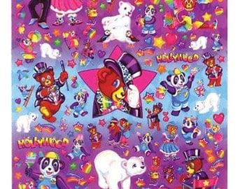 Lisa Frank JUMBO Character Sticker Sheet BEARS Vtg 90's S743-02  Panda painter Rory polar bear Hollywood