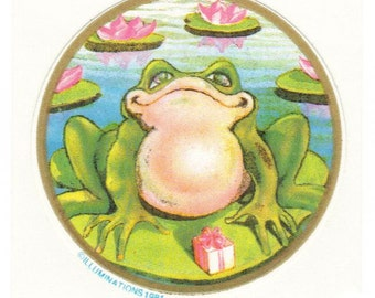 Vintage 1981 Illuminations Frog on Lily Pad Sticker
