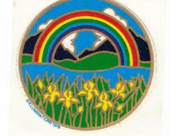 Vintage 1979 Illuminations Rainbow with Yellow Flowers Sticker