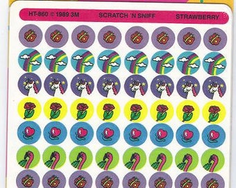 Vintage 1989 Sealed Pack of Scratch and Sniff Strawberry Stickers by 3M Post-it NIP
