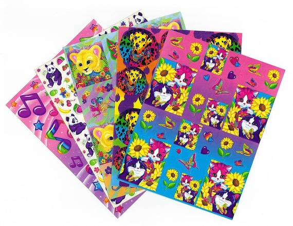 5 Vintage Lisa Frank Sticker Sheets set J Sunflower kittens dalmation dog lion cub panda fruit music notes stars FULL SHEETS