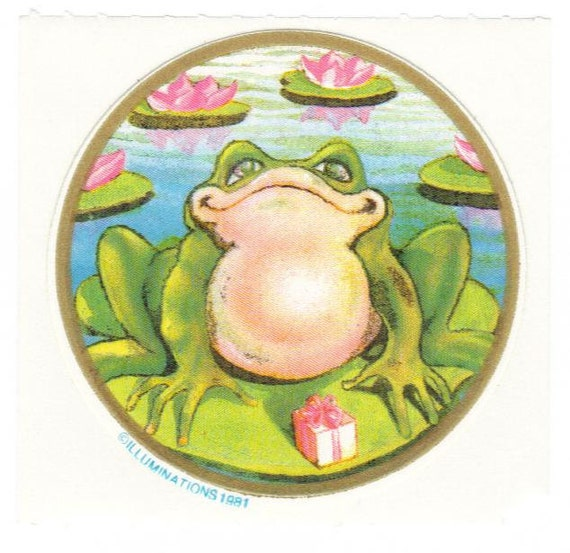 Vintage 1981 Illuminations Frog on Lily Pad Sticker