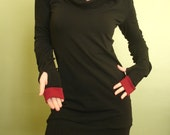 hooded tunic dress extra long sleeves w/thumb holes Black and Burgundy red