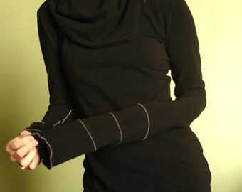 extra long sleeved cowl top in Black