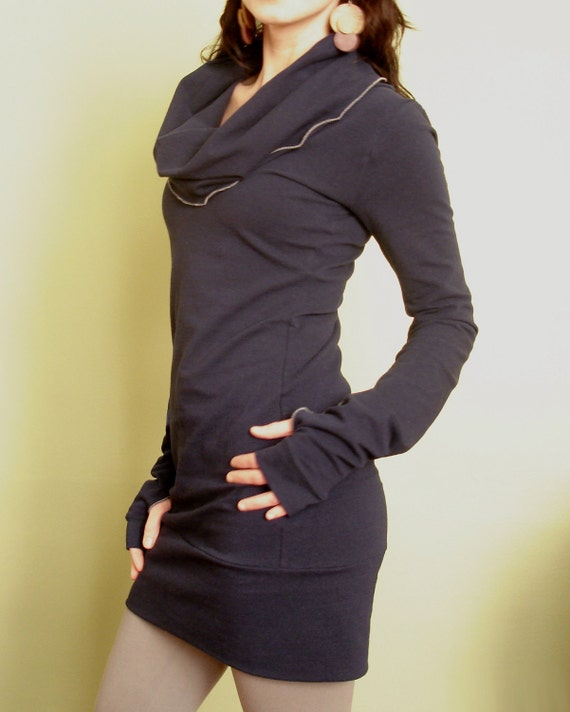 cowl tunic dress/extra long sleeves with thumb holes Navy Blue