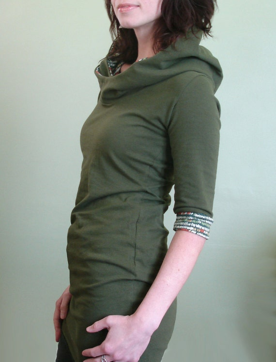 half sleeved hooded tunic top Olive green and olive pattern