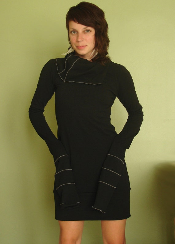cowl tunic dress extra long sleeves BLACK
