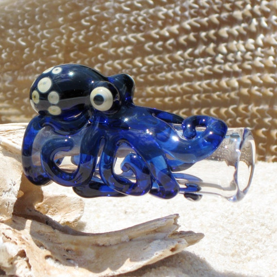 Octopus Dread Bead, in Cobalt Blue Free U.S. Shipping