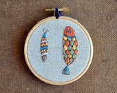 Golden Fishes - embroidery hoop art & screen print (3'' diameter)