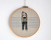 round dream -  Le Solitaire - mixed media (screen printed & hand embroidery hoop art) 8''