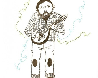 Brian's Symphony - The Mandolin Player gocco print