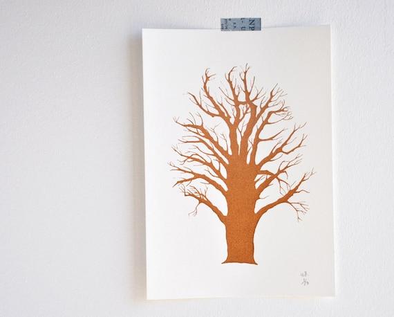Wisdom Tree - original art screen print tree art home decor