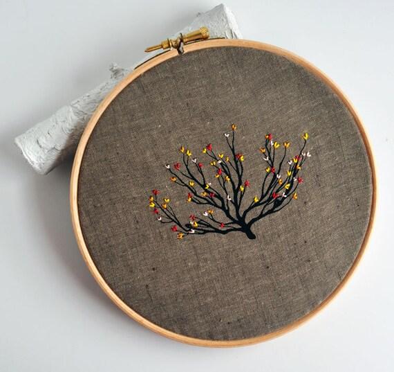 Shrub 2 - original mixed media embroidery hoop