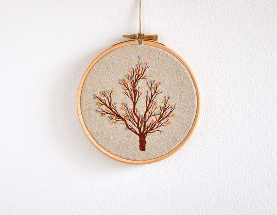 Cuckoo's Tree 4 - original mixed media embroidery hoop - 5''