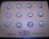 Set of 12 Vintage Rhinestone Buttons- Entire Card