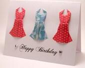 Mini Origami Dress Birthday Card (punch blue)