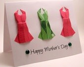 Origami Dress Mother's Day Card (pink green)