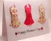 Origami Dress Mother's Day Card (floral red)