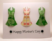 Origami Dress Card (Mother's Day, yellow green)