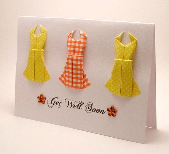 Origami Dress Get Well Soon card