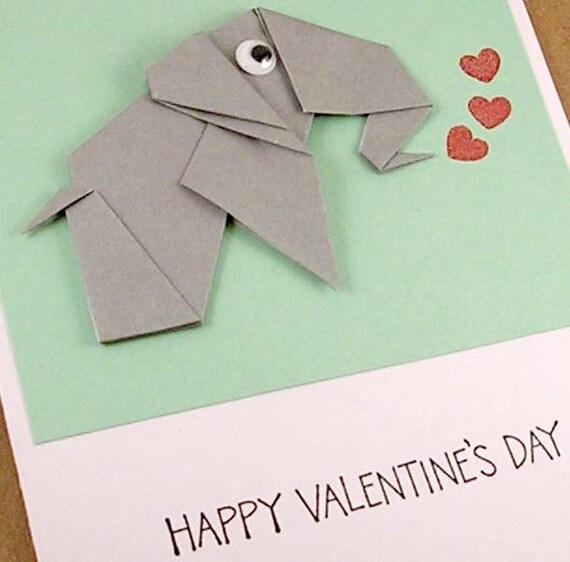 Origami Elephant Valentine Card