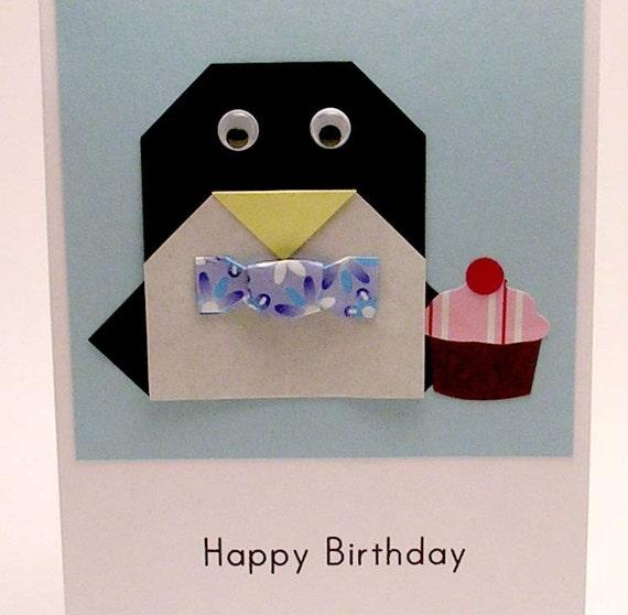origami penguin birthday card