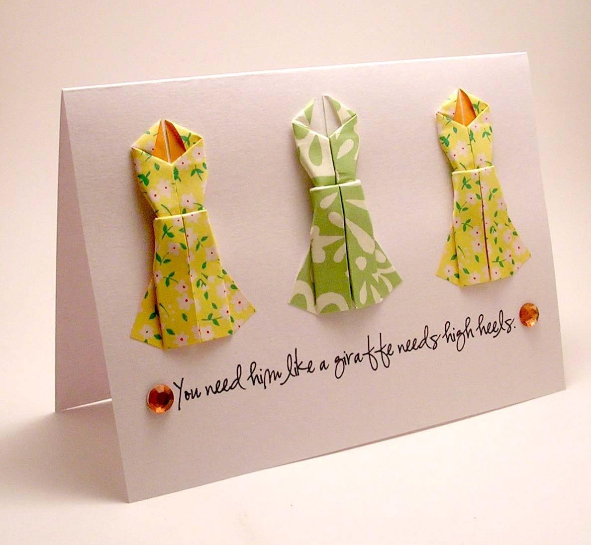 Origami Dress BreakUp Card giraffe and high heels - photo#13