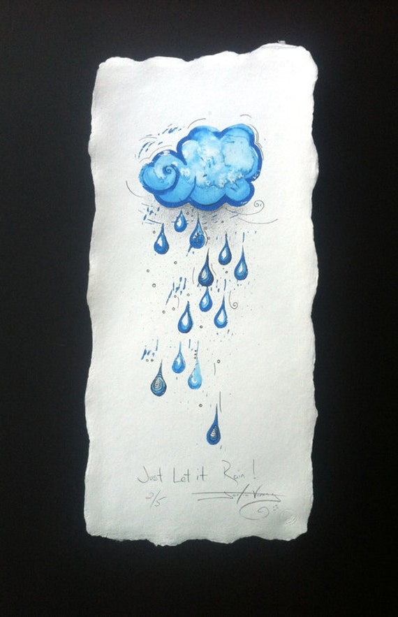 Just Let it Rain - Hand Painted Linocut Drawing Edition No 2 of 5