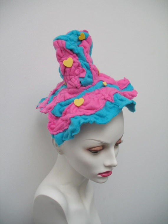 Pepto Bismal Pink and Turquoise Blue with egg yolk yellow hearts striped mini fleece Top Hat