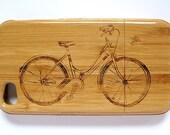 Bamboo iPhone 4/4s case - Bicycle cruiser motif