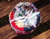 """Primitive Crocheted Rag Rug Coasters Set of 4 Multicolored 5"""" Round"""