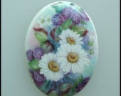 Floral Porcelain Cameo Cabochon