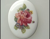 30x40 Porcelain Cameo Cabochon Floral Pink Rose