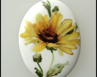 30x40 Porcelain Cameo Cabochon Floral Sunflower