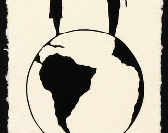 Graduation Gift // Sale 20% Off // WORLD TOUR Papercut - Hand-Cut Silhouette // Coupon Code SALE20