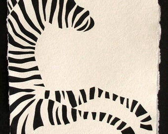 Sale 20% Off // ZEBRA Papercut - Hand-Cut Silhouette // Coupon Code SALE20