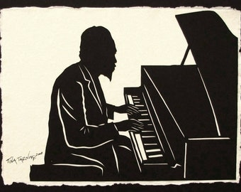 Father's Day Gift - Sale 20% Off // THELONIOUS MONK Papercut - Hand-Cut Silhouette // Coupon Code SALE20