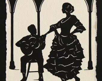 Sale 20% Off // Hand-Cut Papercut Art - Flamenco Dancer Silhouette - A NIGHT in SEVILLE // Coupon Code SALE20