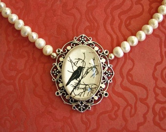 Sale 20% Off // FOR the LOVE of CROWS Choker Necklace - Silhouette Jewelry // Coupon Code SALE20