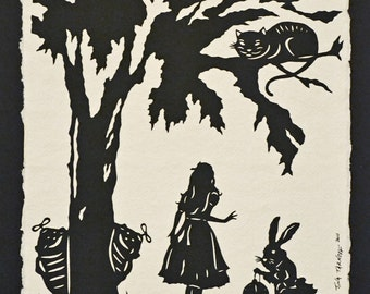 Sale 20% Off // ALICE IN WONDERLAND Papercut  - Hand-Cut Silhouette // Coupon Code SALE20