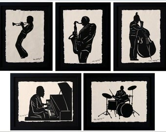 Father's Day Gift - Sale 20% Off // JAZZ GIANTS Papercuts - 5 Hand-Cut Silhouettes, Individually Framed // Coupon Code SALE20