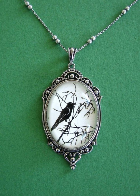 For The Love Of Crows Necklace, pendant on chain