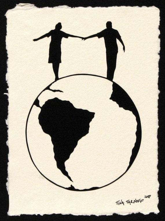Sale 20% Off // WORLD TOUR Papercut - Hand-Cut Silhouette // Coupon Code SALE20
